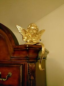 Large Brass Angel Wreath Hanger Cherub Stocking Hook Shelf Sitter