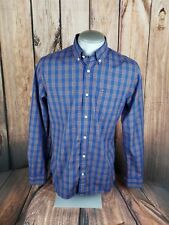 Tommy Hilfiger Mens Button Front Shirt Blue Red Plaid Size Medium Custom Fit