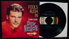 RICK NELSON-Fools Rush In & Down Home-Picture Sleeve & 45-DECCA #31533