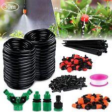 100ft Auto Drip Irrigation System Kit Timer Micro Sprinkler Garden Watering 30M