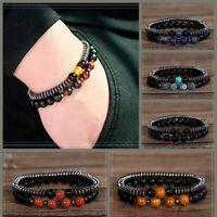 SOURBAN 2pcs Distance Bracelets Relationship Couple Elastic Beads Bracelets