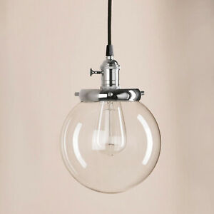 """PathsOn 7.9"""" Industrial Vintage Modern Hanging Ceiling Light Clear Golbe Pendant"""