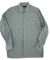 Ermenegildo Zegna Mens Dress Shirt Size XL Blue Stripe Long Sleeve Cotton R2