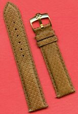 Omega Gold Buckle & 19mm Genuine Brown Snake Skin MB Strap Band Leather Lined