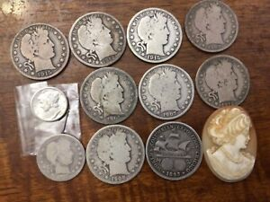 8 barber halves, 1 expo half, 1 barber quarter, 1 Mercury dime, cameo big lot