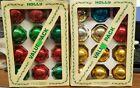 "Vintage Holly Glass Christmas Tree 12 Ornaments Box Pair 2⅝"" Diameter USA"