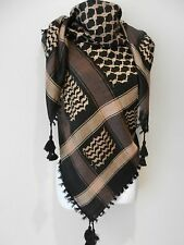 Brown Black Arab Shemagh Head Scarf Neck Wrap Cottton Palestine Arafat Dark Tan