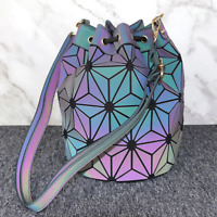 Women Luminous Handbags Geometry Drawstring Bucket Bag Messenger Shoulder Bags