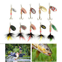 10 PCS Fishing Lures Metal Spinner Baits Bass Tackle Crankbait Trout Spoon Trout