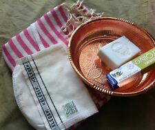 Turkish Bath Sauna Set: Peshtemal Hammam Bowl Duru Soap Kese Mitt Dalan Cream