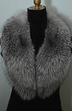 Real  Fox Fur Collar Indigo Blue Frost Detachable New  made in the usa