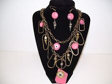 Jewelry Set Chunky Pink Steampunk Necklace & Earrings Multi-Chain NWOT NEW