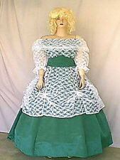 Princess or Southern Belle Costume Gown Green Sateen w White Lace Overlay