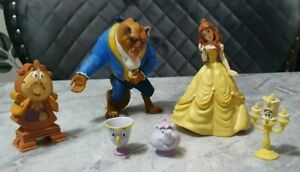 disney bullyland figures beauty & the beast chip, pot, candle ,clock cake topper