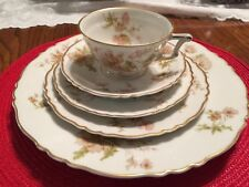 Haviland France  Poppy 5 piece place setting Pink Flowers Green Leaves