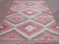 "Anatolia Turkish Classic Antalya Kilim Wool Pink Rug 73,6""x98,8"" Area Rug Carpet"