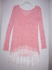 Reborn J Small Pink/White Knit Long Sleeve Dress w/ Lace Trim