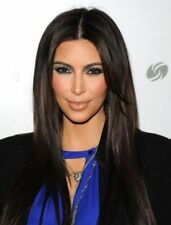 Kim Kardashian Long Silky Straight Middle Parting Womens Wigs 20 Inches