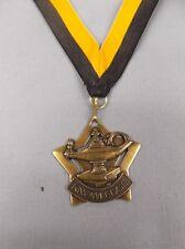 "star shape gold lamp of knowledge  medal 2"" size black/gold neck drape"