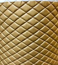 """Vinyl Upholstery Gold metallic diamond Quilted fabric with 3/8"""" Foam Backing"""