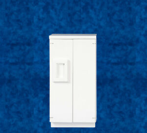 Dolls House Miniature 1:12th Scale White Wooden Fridge/Freezer