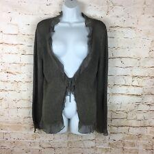BODEN LINEN BLEND silk Trim Cardigan Size 14 Green Summer Thin