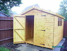 "Garden Shed 10x8 apex 13mm kiln dried t+g d/d 3X2""frame 1""thick floor free erect"