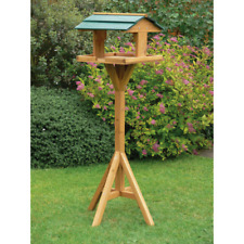 TRADITIONAL GARDEN WOODEN BIRD TABLE FEEDER HOUSE FEEDING STATION STANDING UK