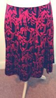 MONSOON BNWT Exclusive Skirt size 22uk 50eu Plus Size Black with Cerise Pink