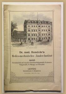 Orig. Prospekt Dr. med. Ramdohr Medico-mechanisches Zander-Institut um 1880 sf