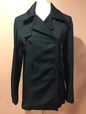 Calvin Klein Peacoat Double Breasted Wool Blend Black Solid Coat Size S