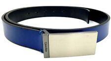 $125 CALVIN KLEIN Men BLUE LEATHER PLAQUE LOGO BUCKLE CASUAL DRESS BELT SIZE 36