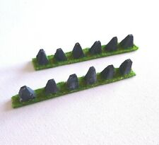 Tabletop Scenery Tank Traps Dragons Teeth on Grass Bases for War Games ww2 40k