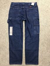 Wrangler Carpenter Dark Blue Work Jeans 34x32 (35x33) New Flawed No Button