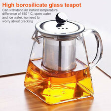 Heat Resistant Glass Teapot Stainless Steel Strainer Filter Infuser Tea Pot
