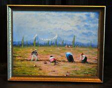 Hector Moncayo (1895-) Vtg Landscape Painting Ecuador Farm Fields - Andes Mtns.
