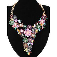 Beautiful Bright Multi Coloured Diamante Flower Cluster Statement Necklace