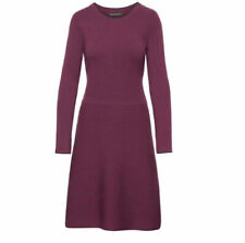 Banana Republic Xs Button Shoulder Sweater Dress Burgundy Red flare midi Knit