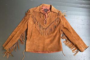 Vintage Fringe Suede Bucksin Deerskin Leather Shirt Pullover, size 38
