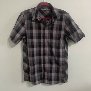 Icebreaker Mens Sz M Black Grey Plaid Merino Wool Button Down Shirt Short Sleeve