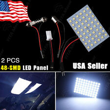 2X Festoon T10 BA9S Cool White LED 48SMD Panel Interior Dome Map Light Lamp 12V