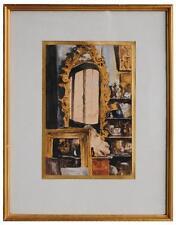 Aquarelle Edouard Jacques Dufeu l'atelier de Vollon