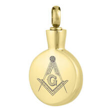 Perfect Memorials Gold Masonic Round Stainless Steel Cremation Jewelry