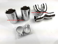 PORSCHE 987 BOXSTER EXHAUST DUAL TIPS + PIPE CHROME BOLT-ON 90MM TWIN CAYMAN S