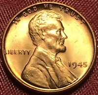 1945 P Lincoln Wheat Cent Penny Red Gem BU++ Brilliant Uncirculated