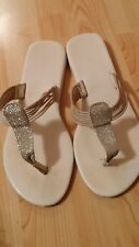Apt. 9 White and Silver Sandals Size 8