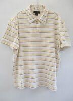 Express Men's Sz Large White Striped Cotton Short Sleeve Polo Shirt