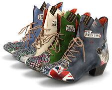 TMA Damen Stiefeletten Leder Boots Stiefel modische Damenschuhe Neu 7707