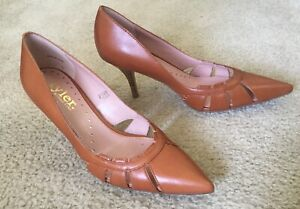 Richard Tyler Cognac Brown Pointy Toe Stacked Heel Leather Pump Shoes Sz 6 Write