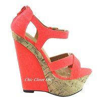 Women High Heels Platform Color Ankle Straps Canvas Open Toe Wedge Sandals